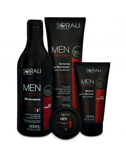 Pack 4 produits Men Therapy Sorali : shampooing 500 ml, crème de rasage 200 g, baume après-rasage 150 ml & cire 30 g