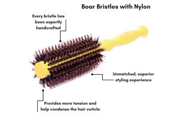 Brosse jaune taille petite The Power Styler by Daroko pour cheveux courts (description)