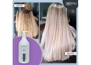 Sorali Silver Therapy No Frizz Matizadora lissage brésilien protéine 1 L : avant / après