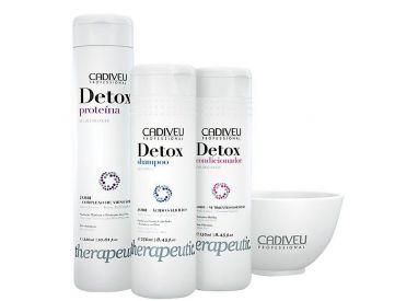Kit Home Care Detox Cadiveu : 1 shampooing 250 ml + 1 protéine 320 ml + 1 après-shampooing 250 ml (+ 1 bol)