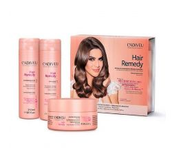Pack d'entretien Hair Remedy Cadiveu 3 produits (1. shampooing 250 ml + 2. conditionneur 250 ml + masque 200 ml)