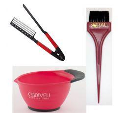 Kit 3 outils spécial lissage brésilien avec 1 bol, 1 peigne spécial lissage & 1 pinceau