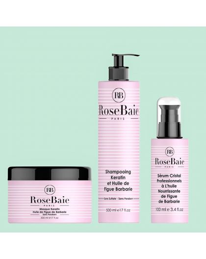 Kit Keratine et Huile de Figue de Barbarie RoseBaie 3 produits : shampooing (500 ml) + masque (500 ml) + sérum (100 ml)