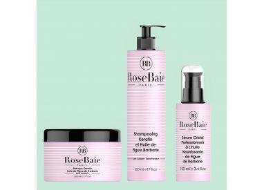 Kit kératine et huile de figue de barbarie RoseBaie 3 produits : shampooing + masque + sérum (fond vert  amande)