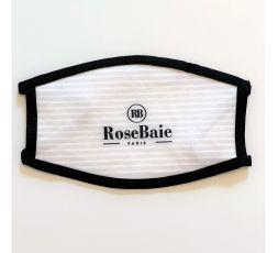 Masque de protection lavable RoseBaie rayé gris & blanc