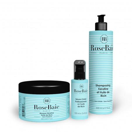 Kit kératine et huile de ricin 3 produits : shampooing (500 ml) + masque (500 ml) + sérum (100 ml)