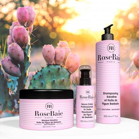 Kit kératine et huile de figue de barbarie RoseBaie 3 produits : shampooing + masque + sérum (fond figuier de barbarie 1)