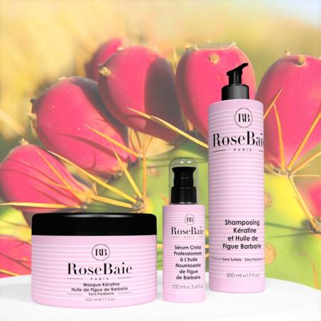 Kit kératine et huile de figue de barbarie RoseBaie 3 produits : shampooing + masque + sérum (fond figuier de barbarie 2)