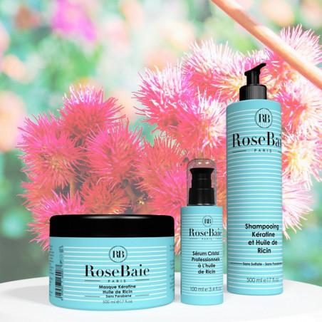 Kit kératine et huile de ricin 3 produits : shampooing (500 ml) + masque (500 ml) + sérum (100 ml) (fond fleur de ricin)